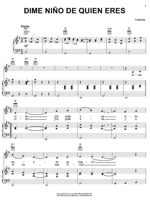 Download Traditional Dime Nino De Quien Eres sheet music and printable PDF score & World music notes