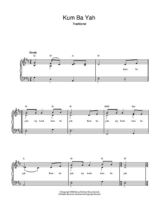 Download Traditional Kum Ba Yah sheet music and printable PDF score & Children music notes