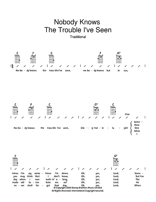 Traditional Nobody Knows The Trouble I Ve Seen Sheet Music Download Printable Traditional Pdf Ukulele Chords Lyrics Score Sku 39498 Nobody knows how to say goodbye, it seems so easy 'til you try, then the moments passed you by, nobody knows how to say goodbye. sheet music