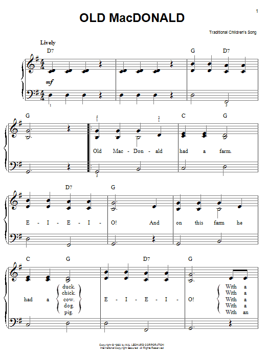 Download Traditional Old MacDonald sheet music and printable PDF score & Children music notes