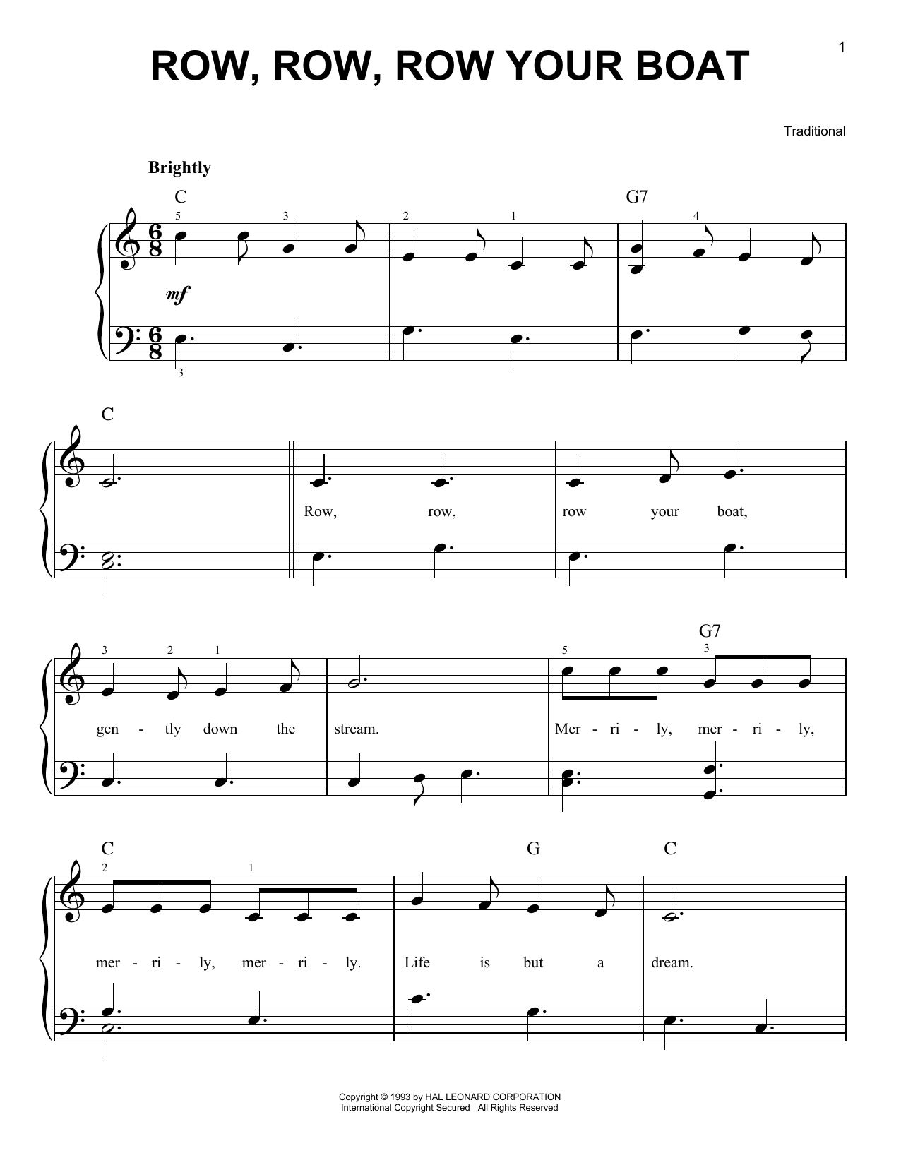 Download Traditional Row, Row, Row Your Boat sheet music and printable PDF score & Children music notes