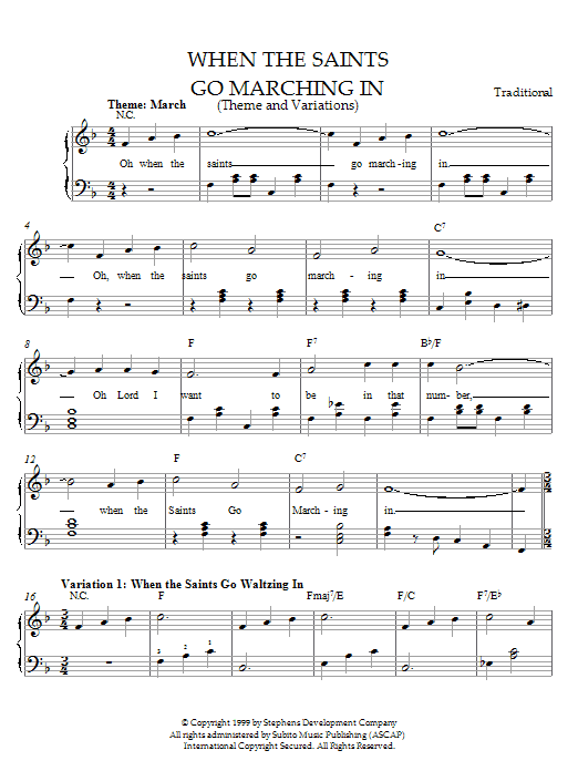 Download Traditional When The Saints Go Marching In (Theme and Variations) sheet music and printable PDF score & Pop music notes
