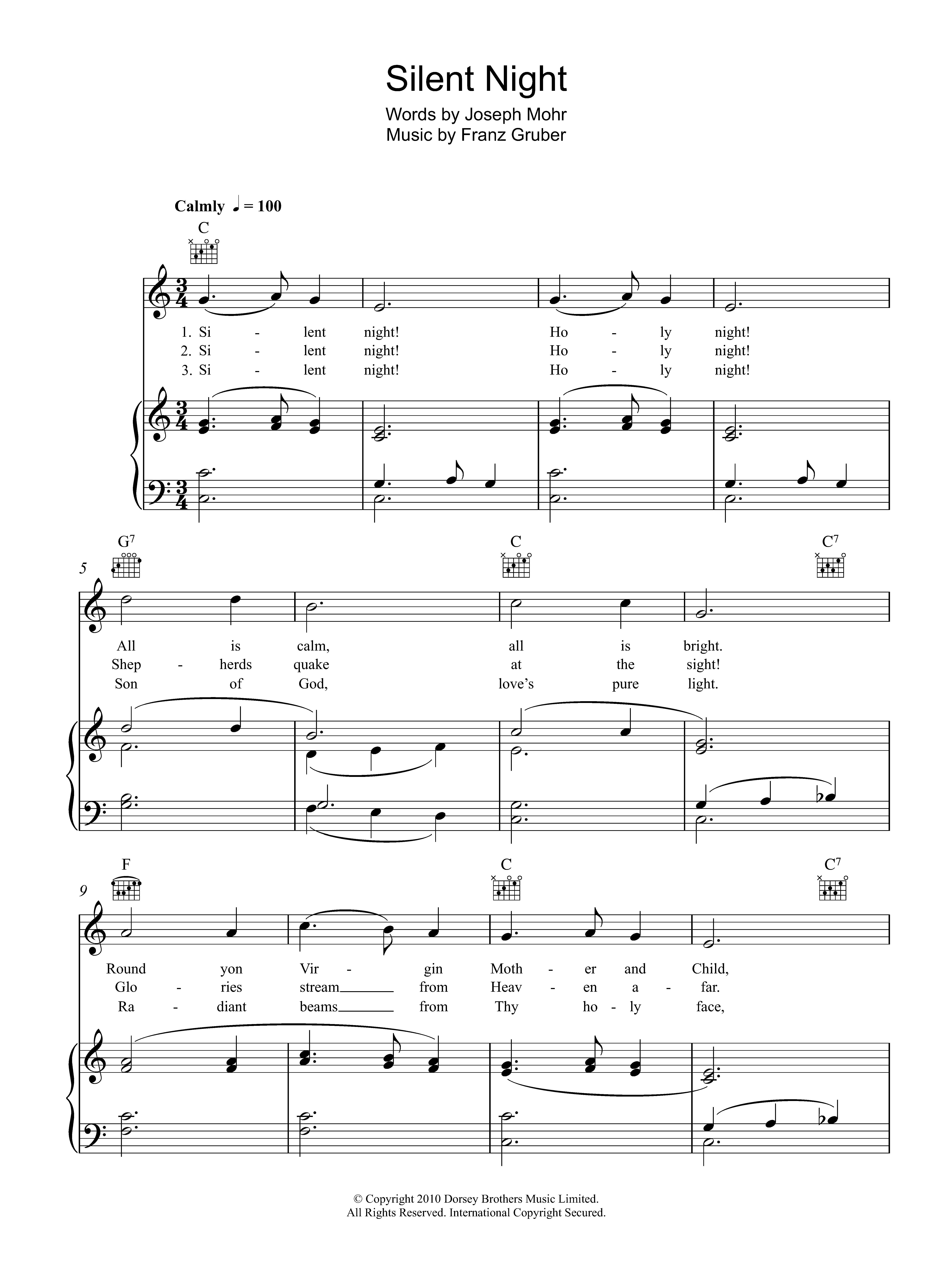 Download Franz Gruber Silent Night sheet music and printable PDF score & Jazz music notes