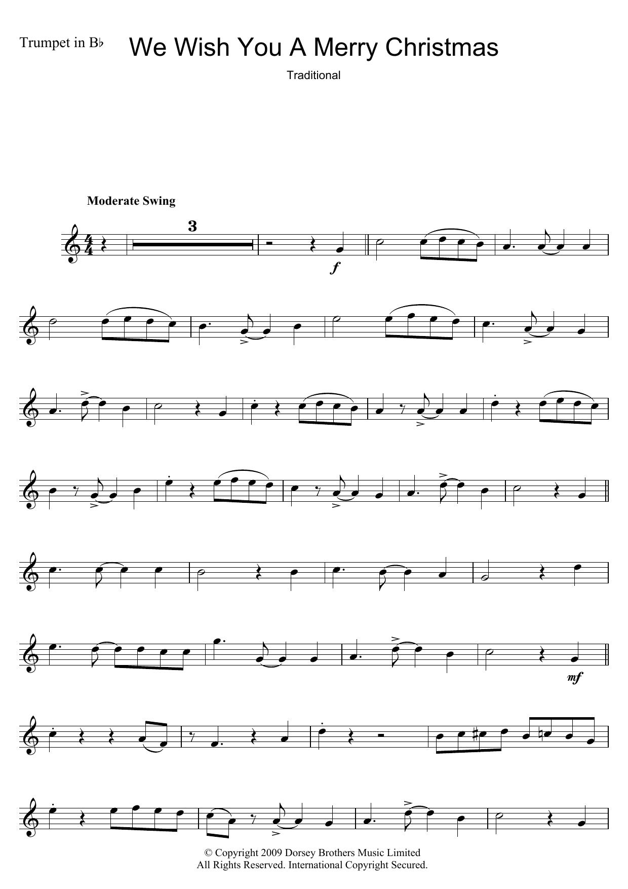 Download Christmas Carol We Wish You A Merry Christmas sheet music and printable PDF score & Traditional music notes