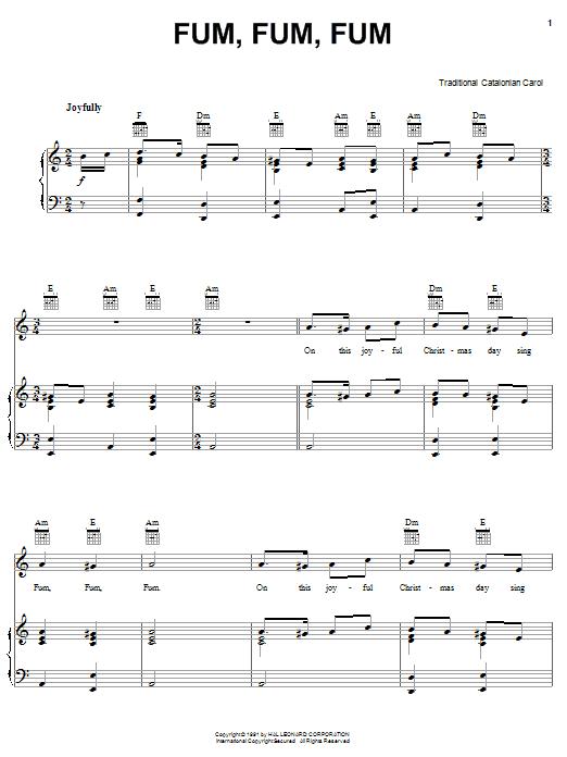 Download Traditional Carol Fum, Fum, Fum sheet music and printable PDF score & Christmas music notes