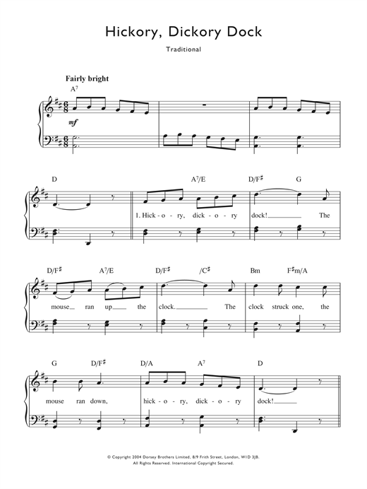 Hickory Ory Dock Sheet Music Notes