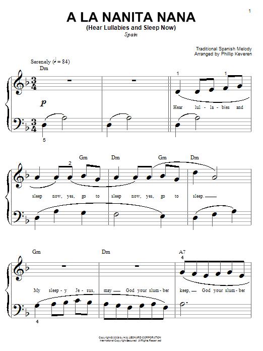 Download Traditional Spanish Melody A La Nanita Nana (Hear Lullabies And Sleep Now) sheet music and printable PDF score & World music notes