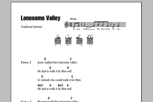 Download Traditional Spiritual Lonesome Valley sheet music and printable PDF score & Folk music notes