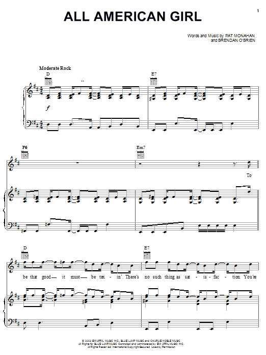 Download Train All American Girl sheet music and printable PDF score & Rock music notes