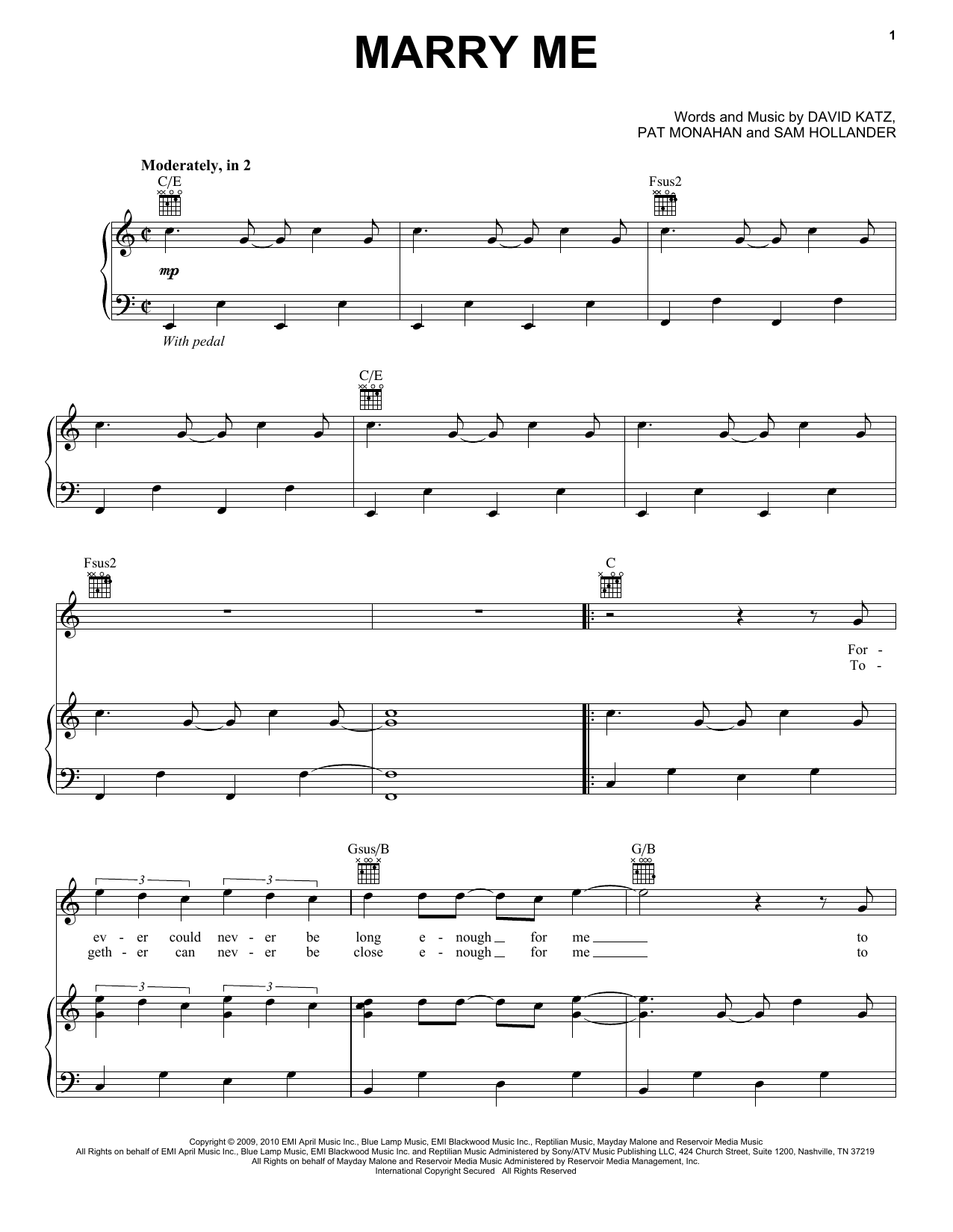 Download Train Marry Me sheet music and printable PDF score & Rock music notes