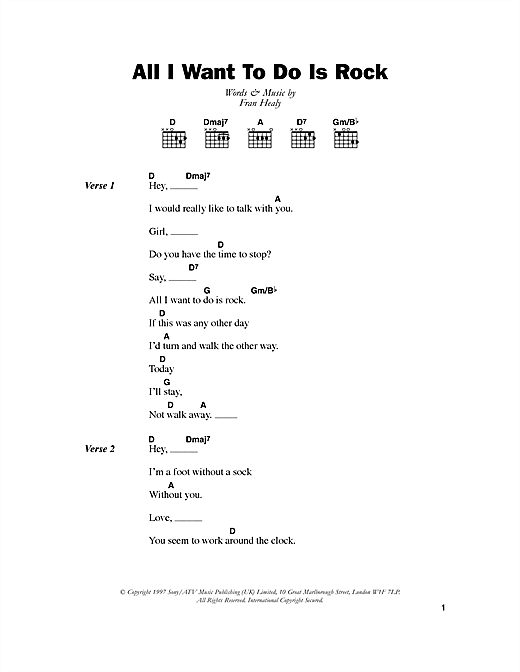 Download Travis All I Want To Do Is Rock sheet music and printable PDF score & Rock music notes