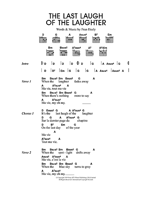 Download Travis The Last Laugh Of The Laughter sheet music and printable PDF score & Rock music notes