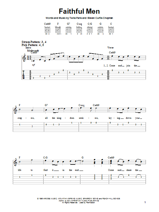 Download Twila Paris Faithful Men sheet music and printable PDF score & Religious music notes