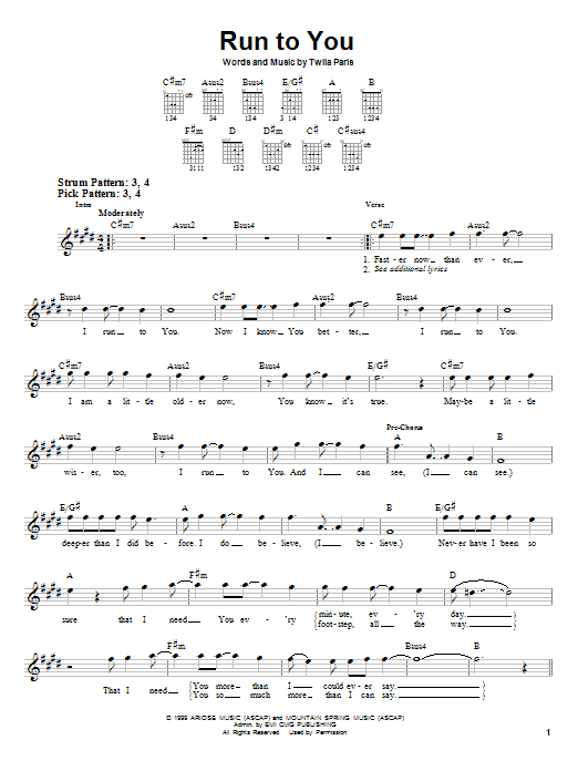 Download Twila Paris Run To You sheet music and printable PDF score & Pop music notes