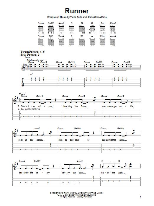 Download Twila Paris Runner sheet music and printable PDF score & Religious music notes