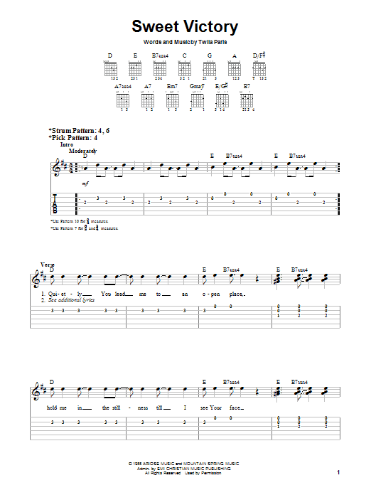 Download Twila Paris Sweet Victory sheet music and printable PDF score & Religious music notes