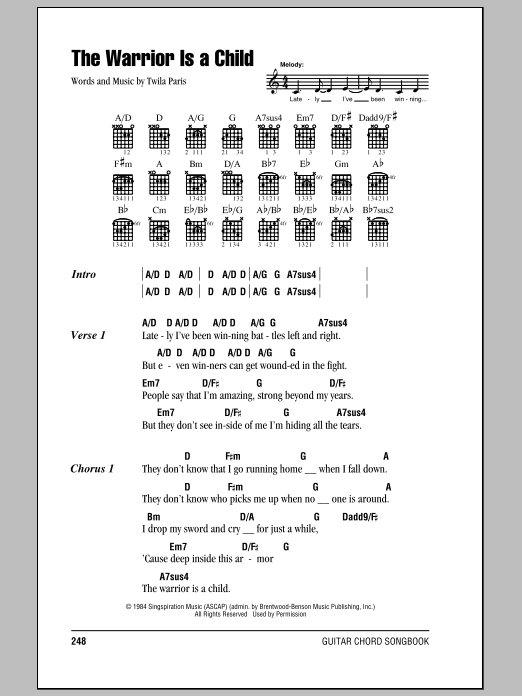 Download Twila Paris The Warrior Is A Child sheet music and printable PDF score & Pop music notes
