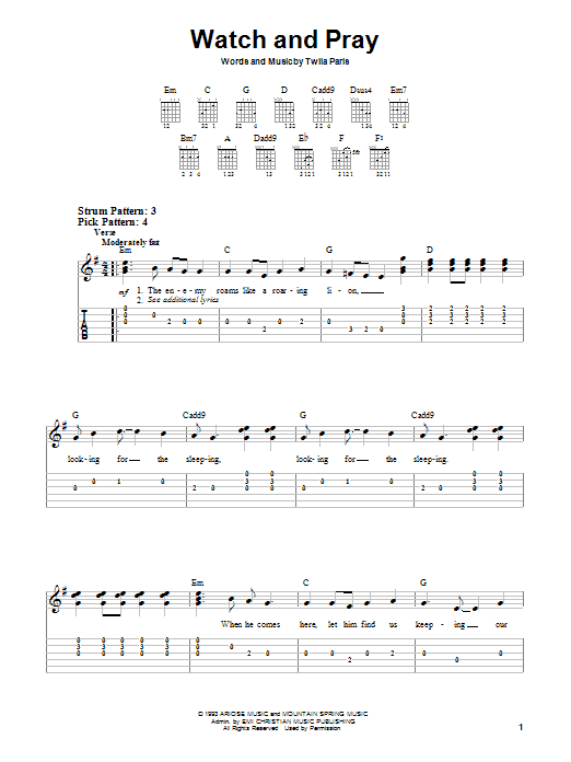 Download Twila Paris Watch And Pray sheet music and printable PDF score & Religious music notes