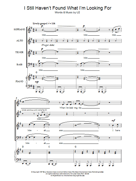 Download U2 I Still Haven't Found What I'm Looking For (arr. Jeremy Birchall) sheet music and printable PDF score & Pop music notes
