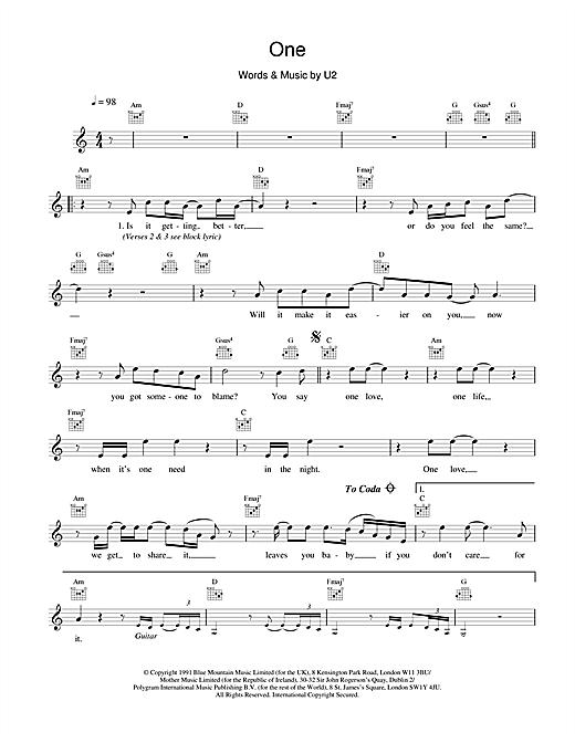 Download U2 One sheet music and printable PDF score & Rock music notes