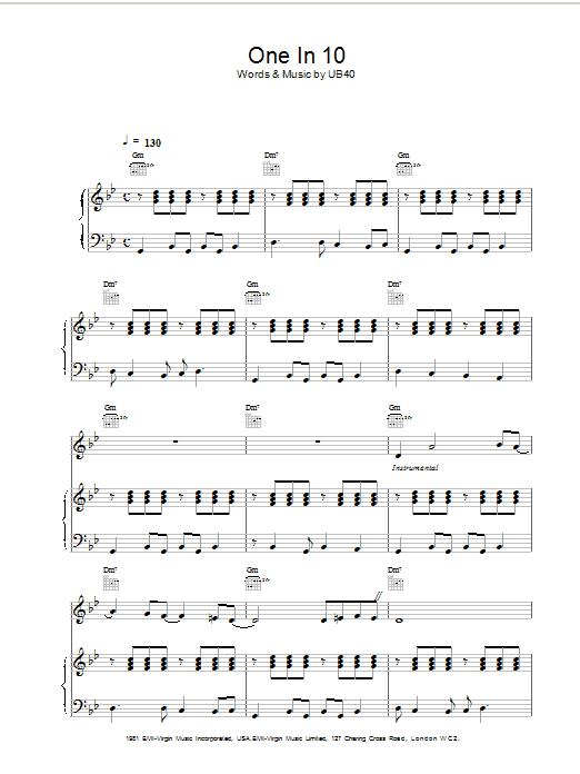 Download UB40 One In Ten sheet music and printable PDF score & Pop music notes