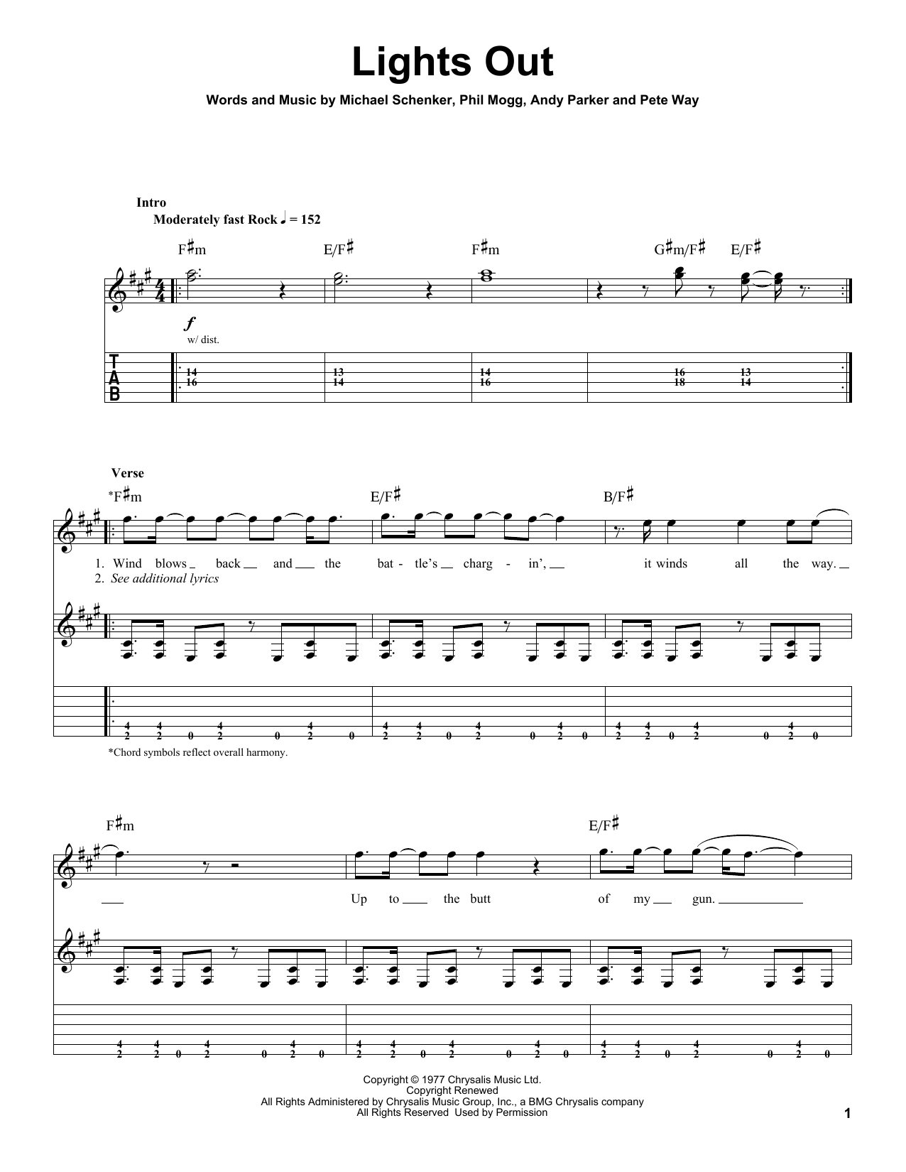 Download UFO Lights Out sheet music and printable PDF score & Pop music notes