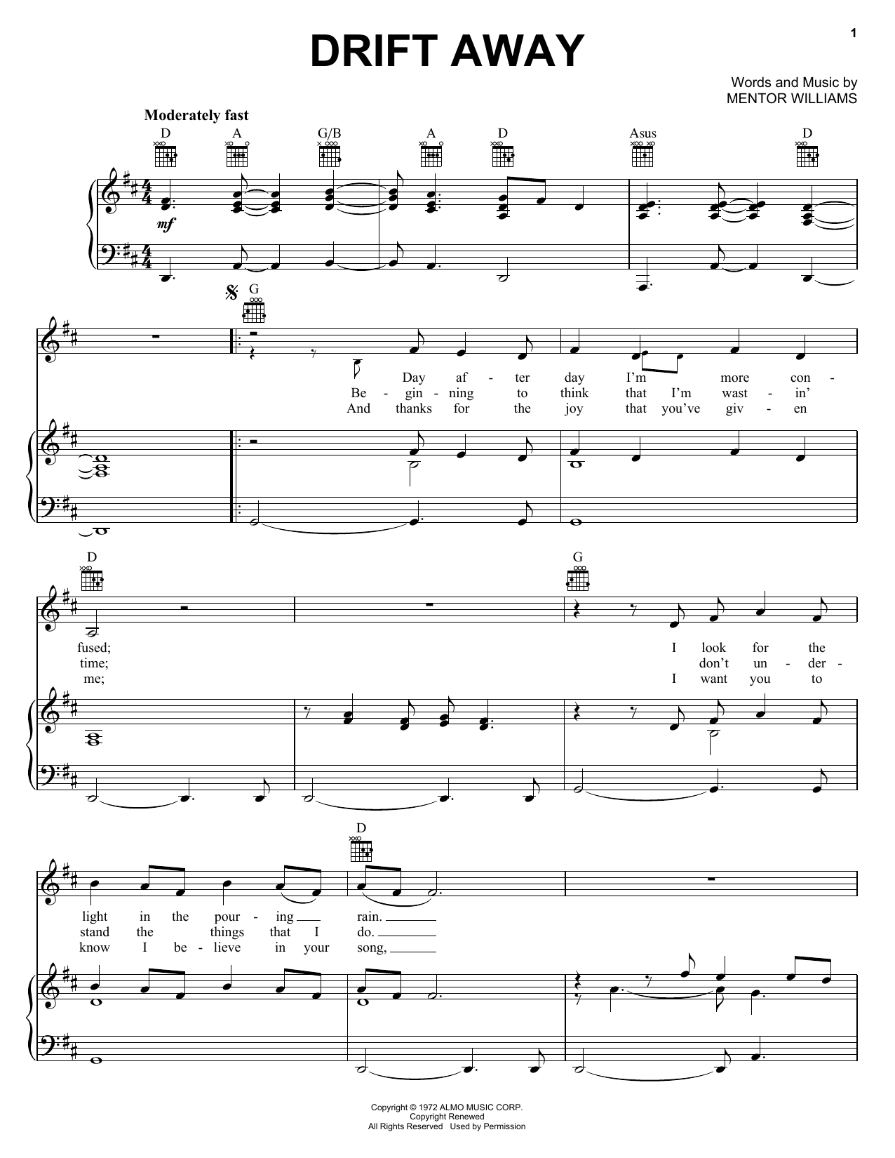 Download Uncle Kracker Drift Away sheet music and printable PDF score & Rock music notes
