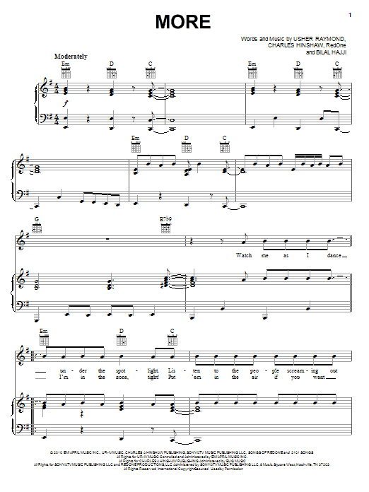 Download Usher More sheet music and printable PDF score & Pop music notes