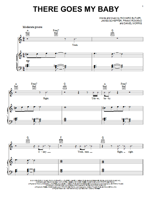 Download Usher There Goes My Baby sheet music and printable PDF score & Pop music notes
