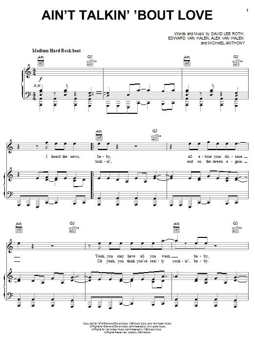 Download Van Halen Ain't Talkin' 'Bout Love sheet music and printable PDF score & Rock music notes