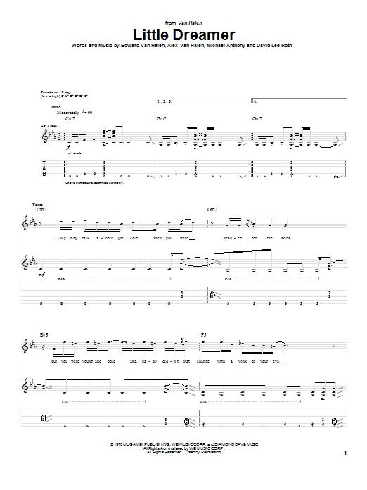 Download Van Halen Little Dreamer sheet music and printable PDF score & Pop music notes