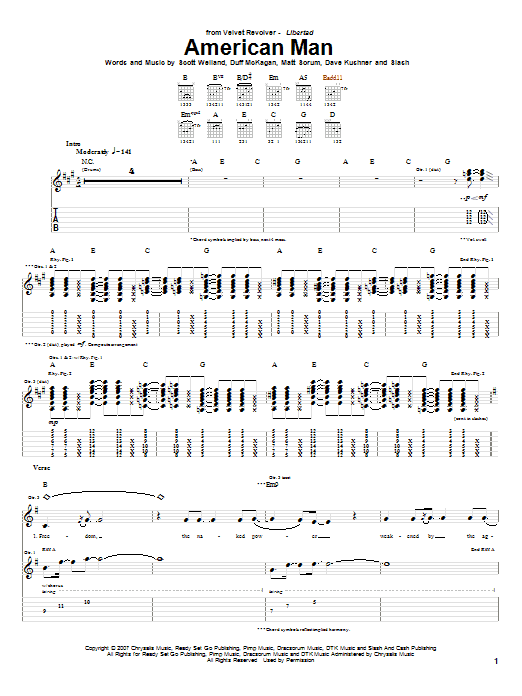 Download Velvet Revolver American Man sheet music and printable PDF score & Pop music notes