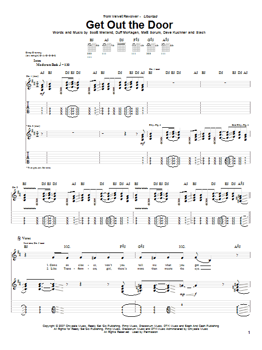 Download Velvet Revolver Get Out The Door sheet music and printable PDF score & Pop music notes