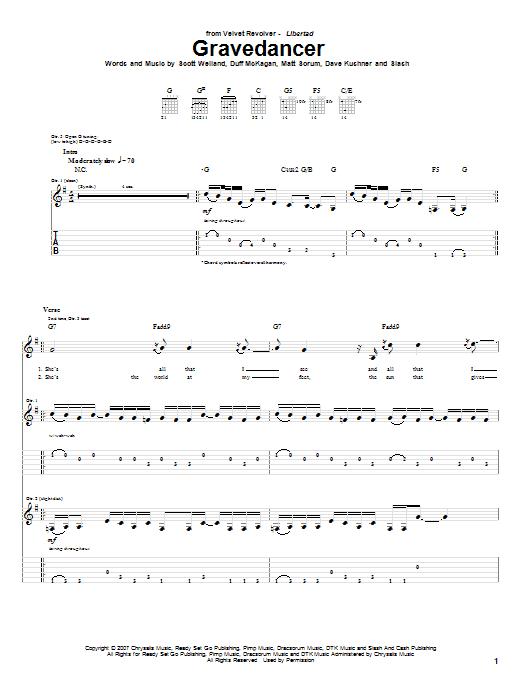 Download Velvet Revolver Gravedancer sheet music and printable PDF score & Pop music notes
