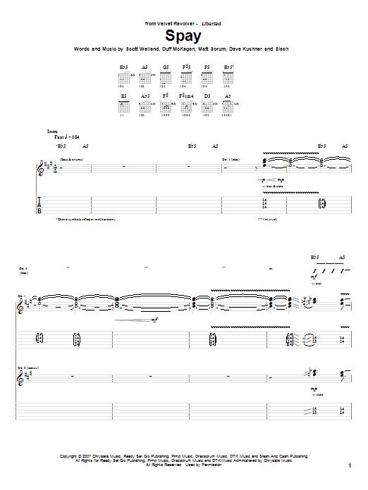 Download Velvet Revolver Spay sheet music and printable PDF score & Pop music notes