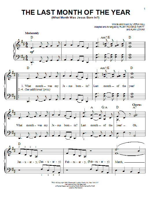 Download Vera Hall The Last Month Of The Year (What Month Was Jesus Born In?) sheet music and printable PDF score & Christmas music notes