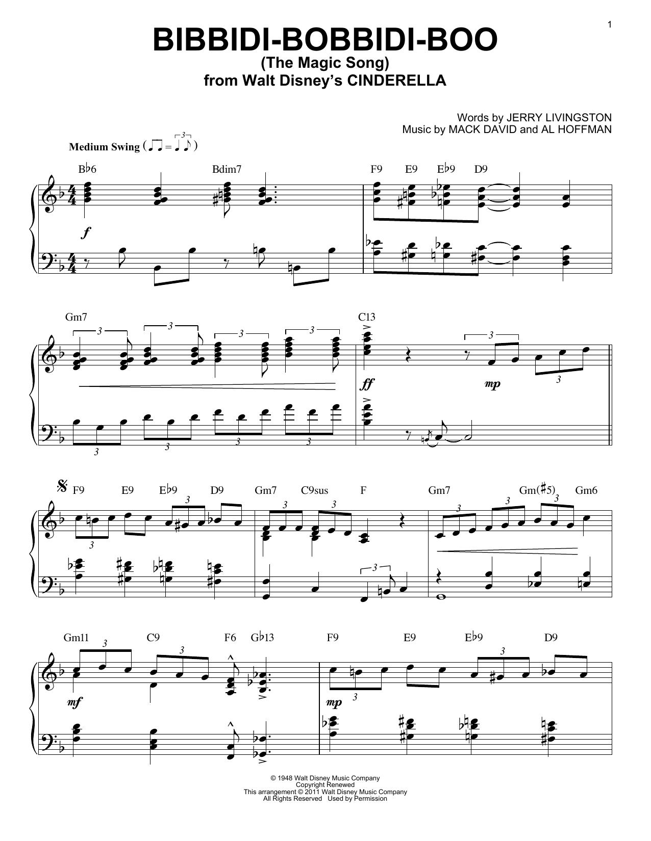 Download Verna Felton Bibbidi-Bobbidi-Boo (The Magic Song) [Jazz version] (arr. Brent Edstrom) sheet music and printable PDF score & Film and TV music notes