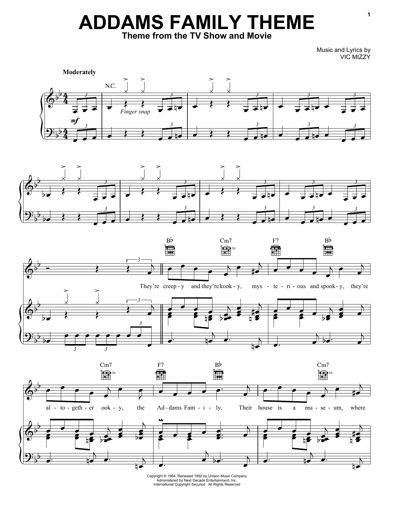 Download Vic Mizzy The Addams Family Theme sheet music and printable PDF score & Children music notes