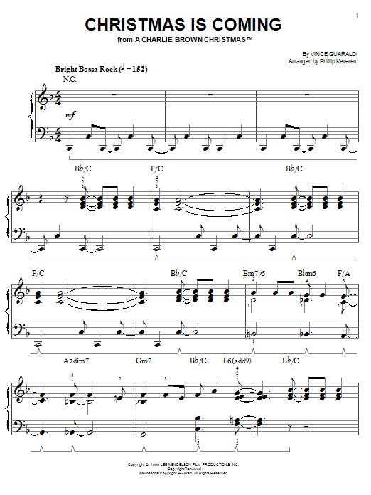 Download Vince Guaraldi Christmas Is Coming sheet music and printable PDF score & Jazz music notes