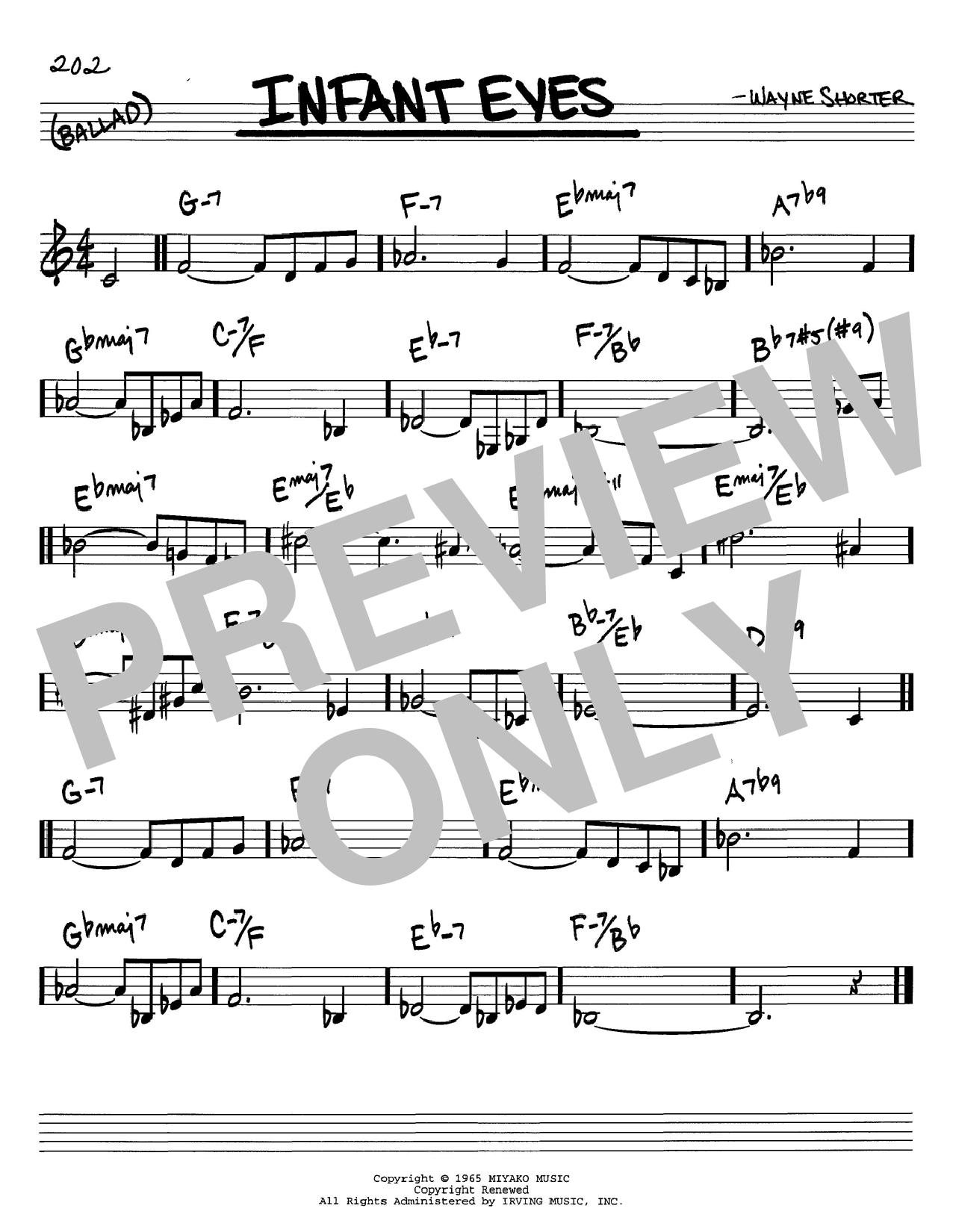 Wayne Shorter 'Infant Eyes' Sheet Music Notes, Chords | Download Printable  Real Book - Melody & Chords - C Instruments - SKU: 60184