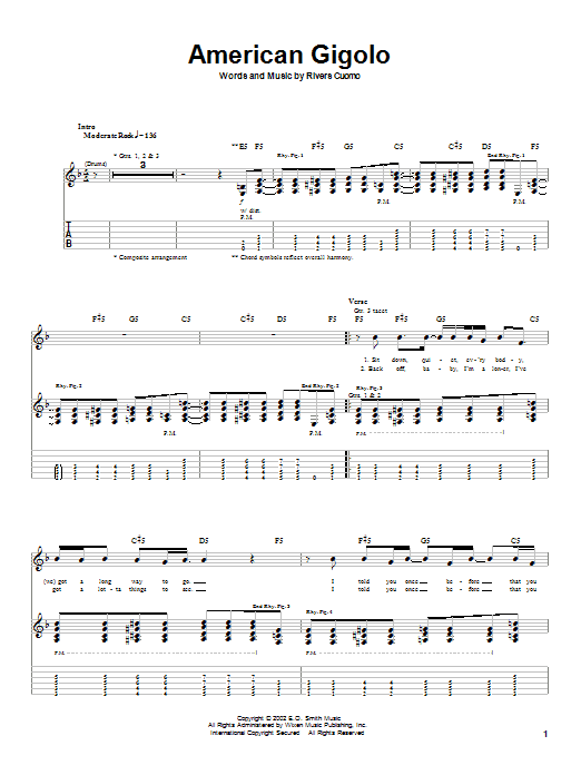 Download Weezer American Gigolo sheet music and printable PDF score & Rock music notes