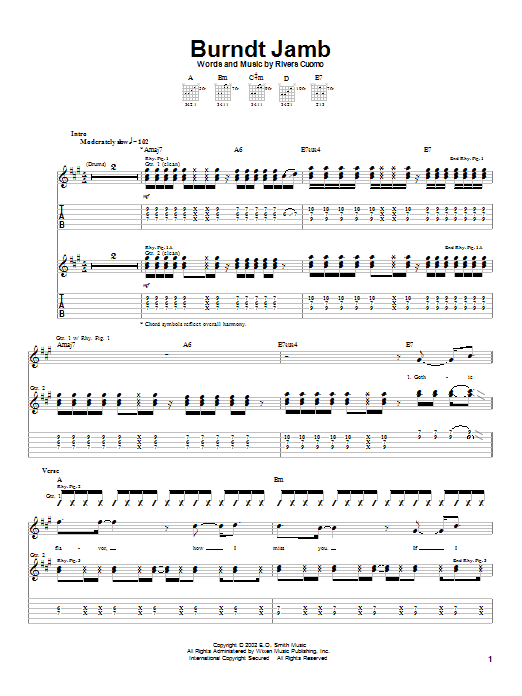 Download Weezer Burndt Jamb sheet music and printable PDF score & Rock music notes
