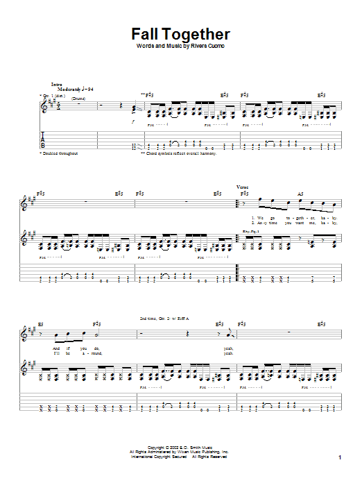 Download Weezer Fall Together sheet music and printable PDF score & Rock music notes