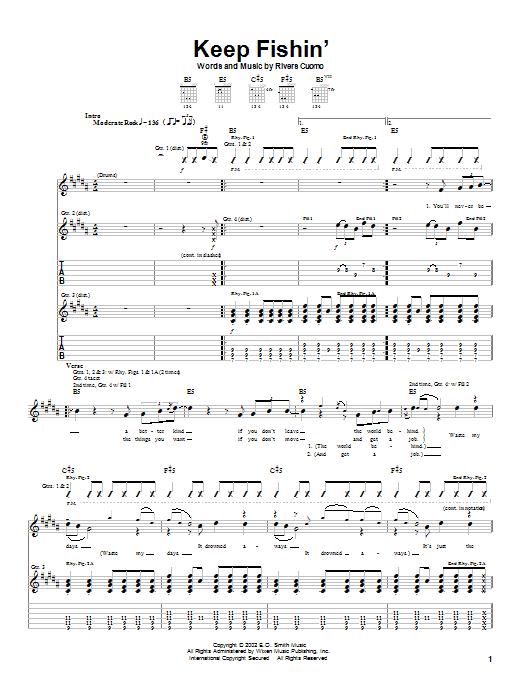 Download Weezer Keep Fishin' sheet music and printable PDF score & Rock music notes