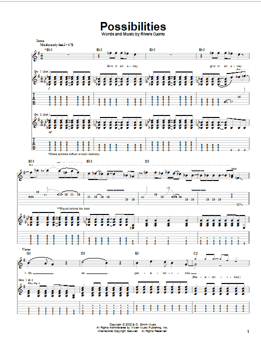 Download Weezer Possibilities sheet music and printable PDF score & Rock music notes