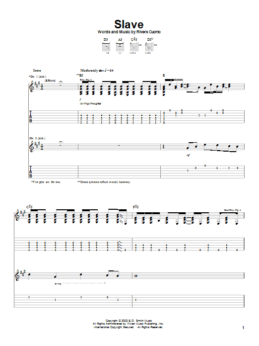 Download Weezer Slave sheet music and printable PDF score & Rock music notes
