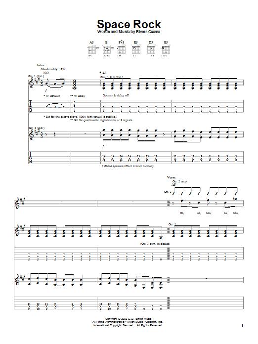 Download Weezer Space Rock sheet music and printable PDF score & Rock music notes