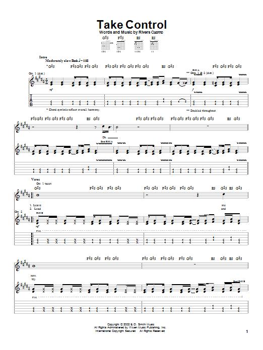 Download Weezer Take Control sheet music and printable PDF score & Rock music notes