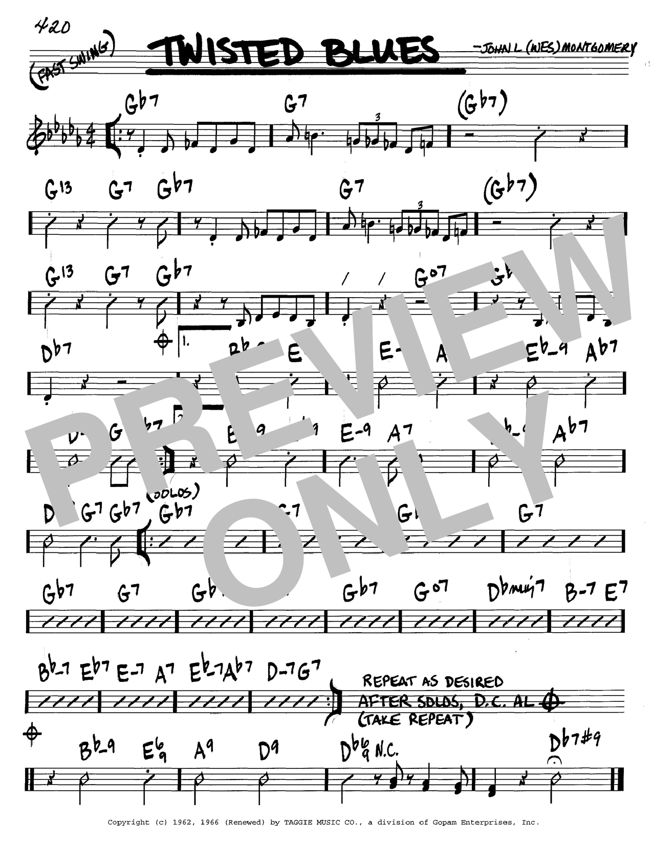 Download Wes Montgomery Twisted Blues sheet music and printable PDF score & Jazz music notes