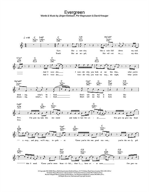 Download Westlife Evergreen sheet music and printable PDF score & Pop music notes